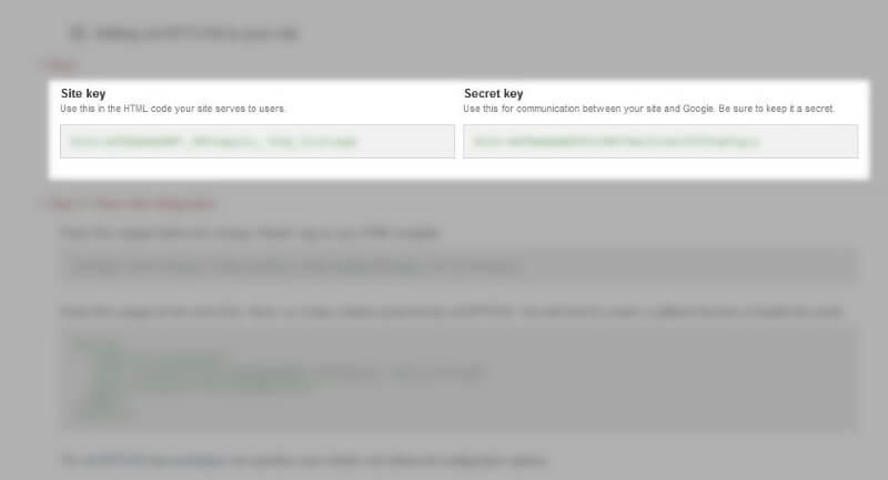 site key secret key