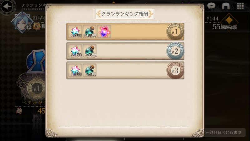 clan battle second clan ranking rewards