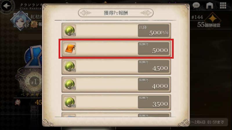 clan battle second point reward2